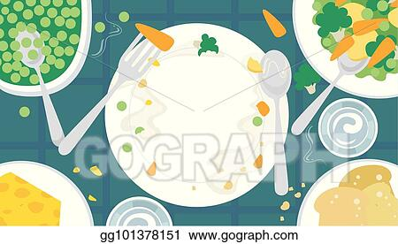 Vector Illustration Healthy Food Plate Table Illustration Stock Clip Art Gg101378151 Gograph