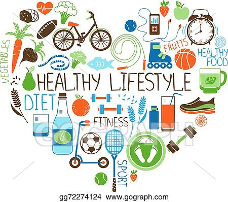 eps vector healthy lifestyle diet and fitness heart sign stock