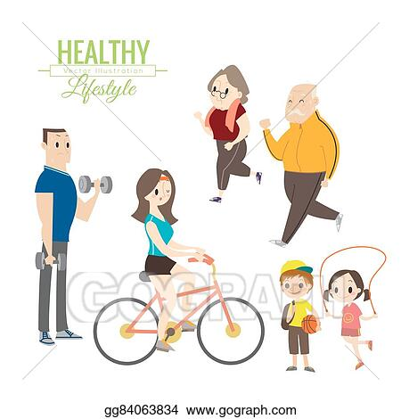 Vector Art - Healthy lifestyle happy family exercising