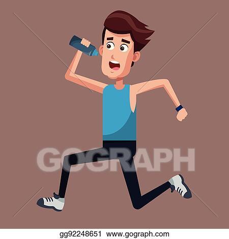 Vector Art Healthy Man Running Bottle Water Clipart Drawing