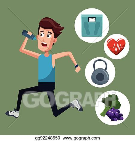 Vector Art Healthy Man Running Sport Icons Eps Clipart Gg92248650