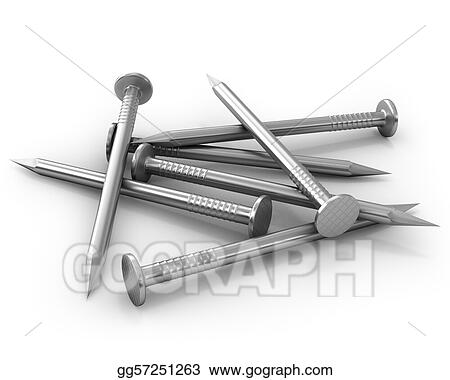 Heap Of Steel Shiny Nails Isolated On White