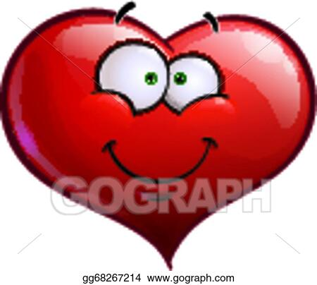 Vector Clipart - Heart faces happy emoticons - smiling