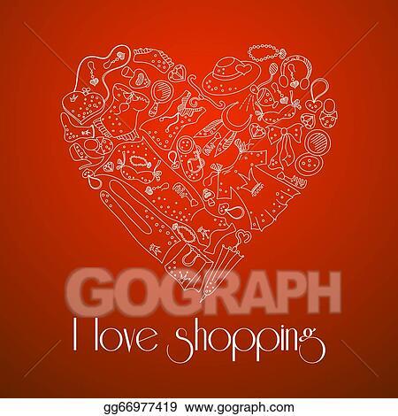 4befa7c04c11e Vector Illustration - Heart from stylish hand drawn set of fashion ...