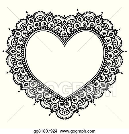 Vector Stock Heart Mehndi Design Indian Henna Stock Clip Art