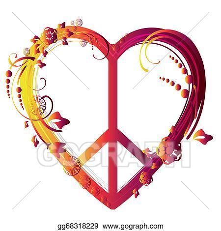 8dd8b2ffc Vector Art - Heart peace symbol. Clipart Drawing gg68318229 - GoGraph