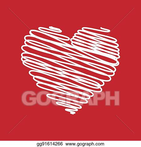 Vector Stock Heart Pencil Scribble Sketch Drawing In White On