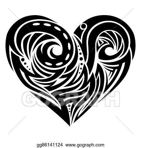 Eps Illustration Heart Shape Tattoo Ornament Vector Clipart Gg86141124 Gograph