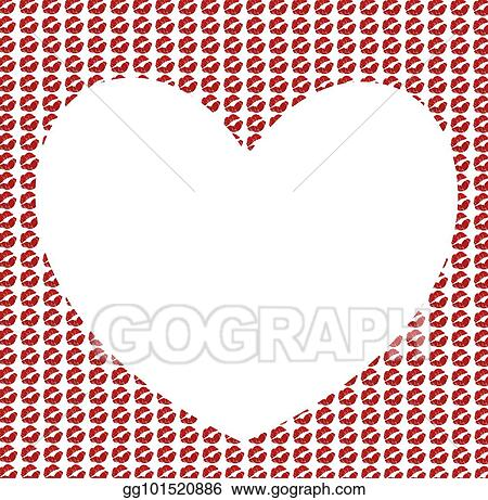 Drawing - Heart shaped frame with kissmarks pattern on white ...