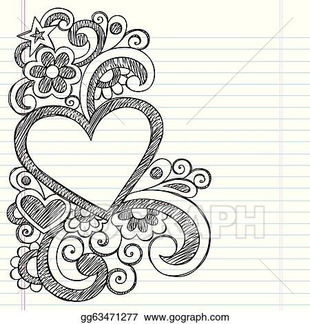 Vector Art - Heart sketchy doodle picture frame  Clipart Drawing