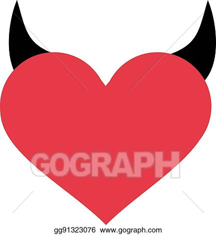 Vector Illustration Heart With Devil Horns Stock Clip Art