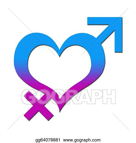 Drawing Heart With Male Female Signs Clipart Drawing Gg64078881