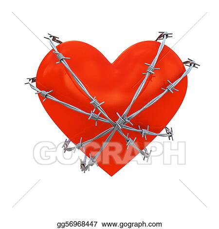Drawings - Heart wrapped with barbed wire. Stock Illustration ...