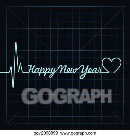 heartbeat make happy new year text