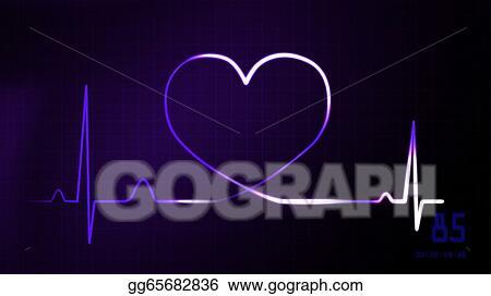 Heartbeat Line Art : Stock illustration heartbeat purple of ekg monitor clip art