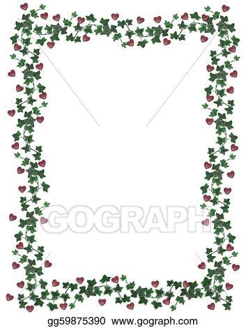 stock illustration hearts and ivy border valentine clip art