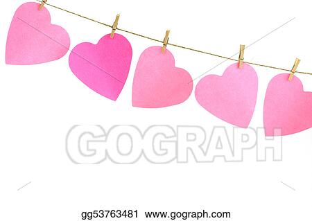 Clip Art Line Of Hearts : Stock illustration hearts on a clothes line clipart gg