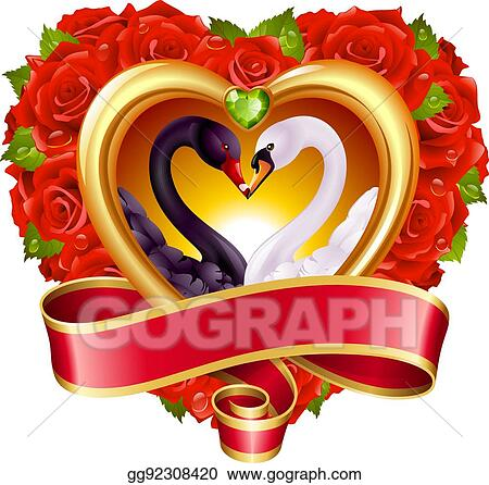 Vector Clipart - Hearts, roses and swans  Vector