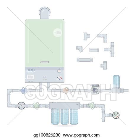 Vector Stock - Heating system. set gas boiler and circulation pump ...