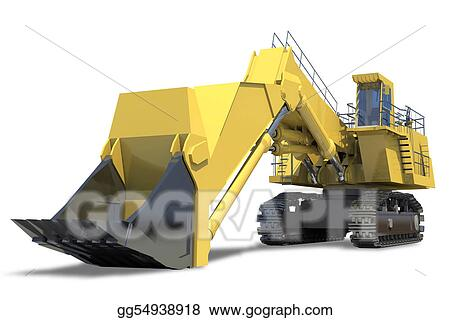 Heavy Equipment Excavator With Bucket On A White Background