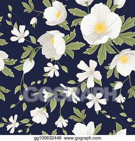 Vector Illustration Hellebore Anemone Gypsophila Floral
