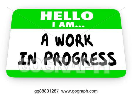 stock illustration hello im a work in progress self help name tag