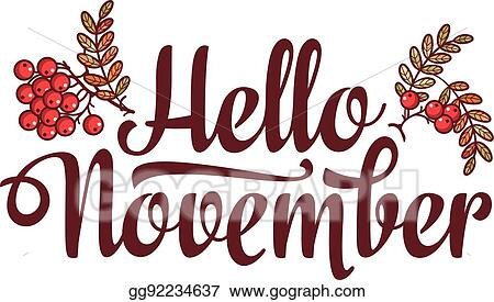vector stock hello november lettering composition flyer or banner