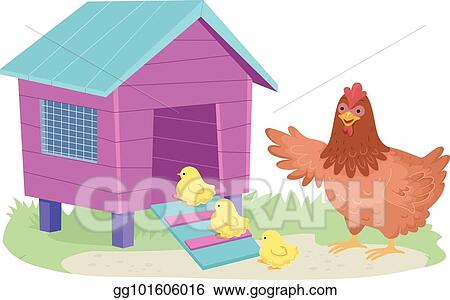 Hen Chicks Chicken Coop Illustration
