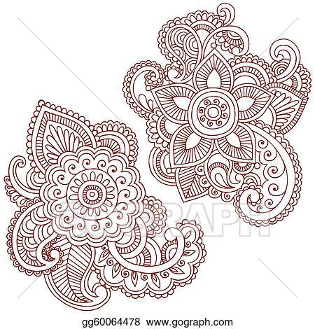 Henna Flower Doodles Vector Design