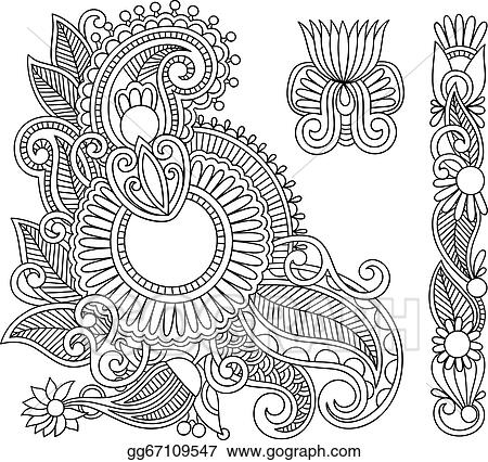 Vector Art Henna Mehndi Black Flower Doodle Illustration Design