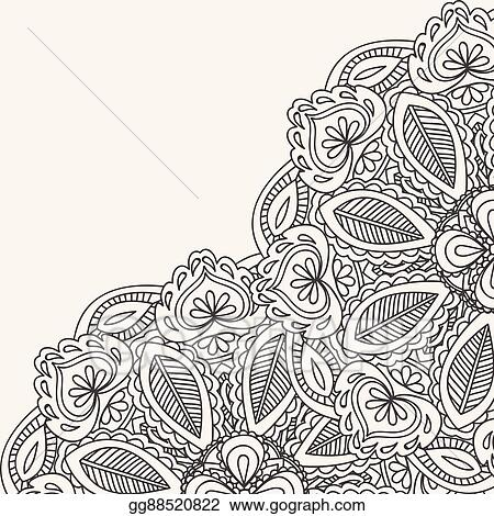 Vector Art , Henna mehndi card template. mehndi invitation