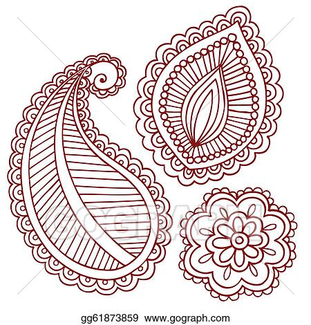 Eps Illustration Henna Mehndi Tattoo Doodles Vector Vector