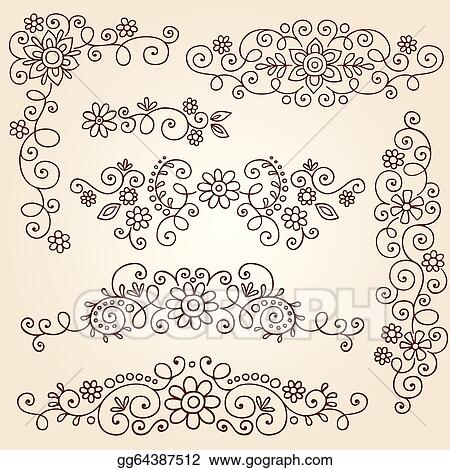 Clip Art Vector Henna Vines Frame Borders Vector Stock Eps