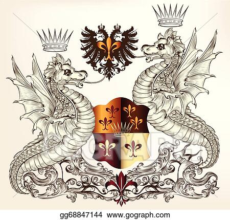 Vector Art Heraldic Design With Dragons Clipart Drawing