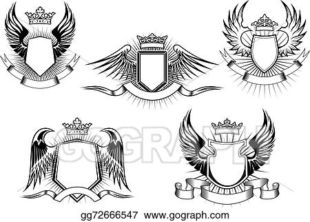 Vector Stock Heraldic Royal Coat Of Arms And Shields