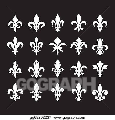Vector Art Heraldic Symbols Fleur De Lis Eps Clipart