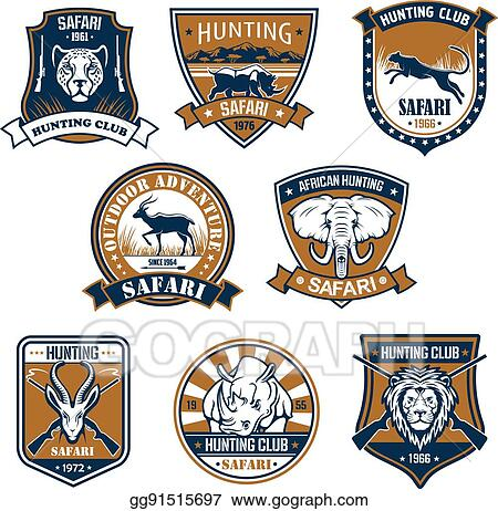 Vector Art - Heraldry icons of wild safari animals  Clipart Drawing