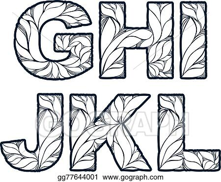 Herbal Style Single Color Beautiful Font Typeset With Floral Elegant Ornament G H I J K L Capital Letters