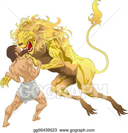 Clip Art Vector Hercules And The Lion Stock Eps