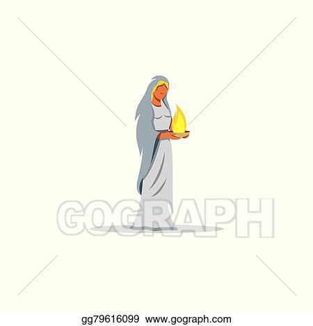 Vector Art Hestia Sign Mythological Greek Goddess Of The Hearth