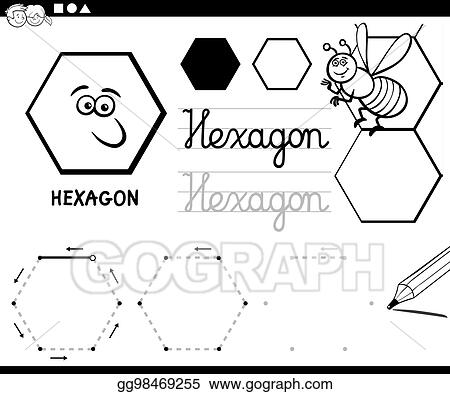 Vector Stock - Hexagon basic geometric shapes coloring page. Clipart ...