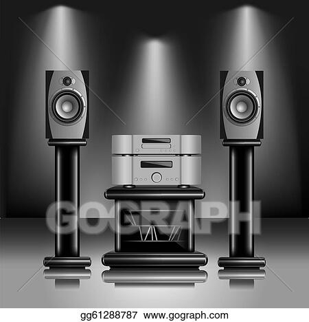 sound system clipart. vector stock - hi-fi audio sound system. realistic eps10 illustration of modern music equipment inside fashionable interior. clip art system clipart