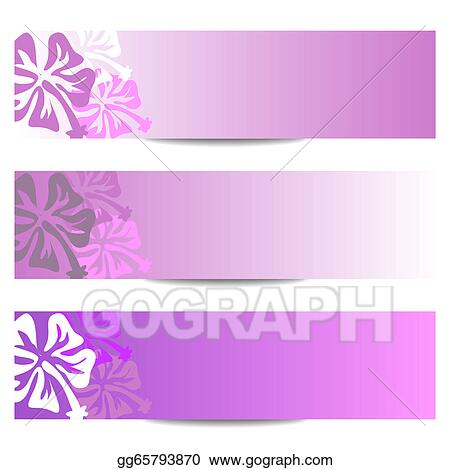 Drawing Hibiscus Floral Banner Purple Clipart Drawing Gg65793870