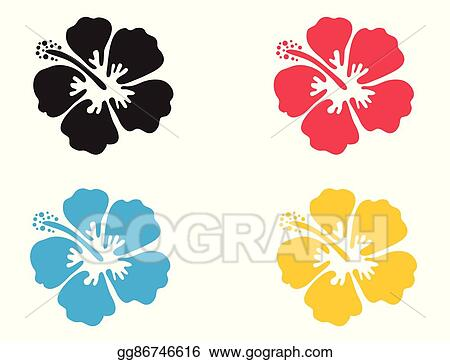 Vector Illustration Hibiscus Flower Vector Stock Clip Art