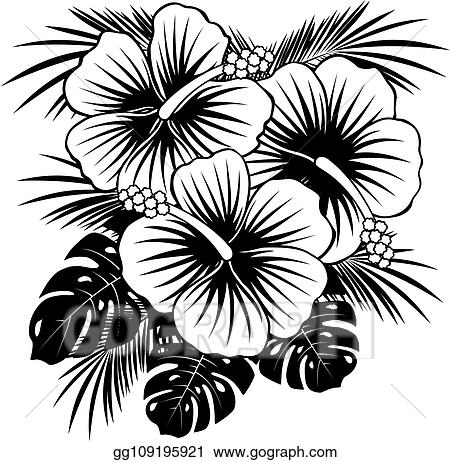 Clip Art Vector Hibiscus Hawaiian Flower Stock Eps Gg109195921