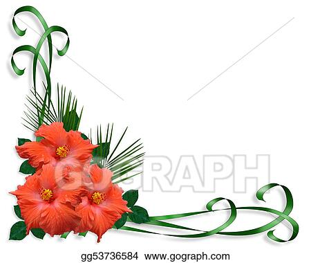 Stock Illustration Hibiscus Tropical Flowers Border Clipart