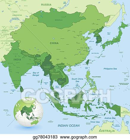 Vector Stock High Detail Vector Map Of Far East Asia Clipart