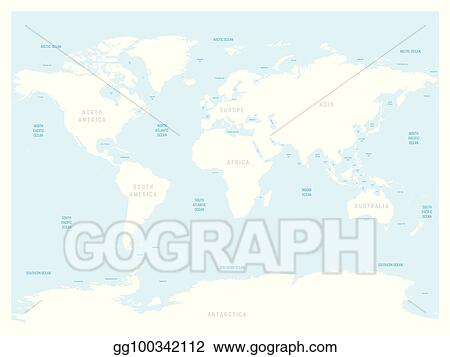 Vector Art - High detailed world map. with labels of main oceans ...