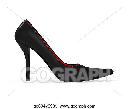 Gold High Heel Shoes Isolated On White 3d Rendering Stock
