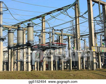 Clipart - High voltage converter equipment at a power plant  Stock